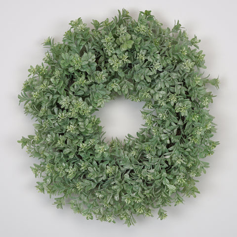 Artificial 16-inch Frosted Boxwood Wreath