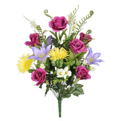 "Artificial 25"" Rose/Gerbera Daisy/Lily Bush - House of Silk Flowers®  - 1"