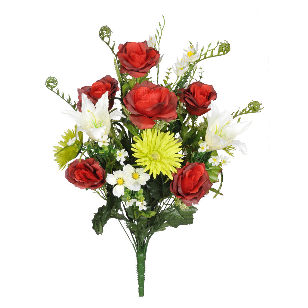 "Artificial 25"" Rose/Gerbera Daisy/Lily Bush - House of Silk Flowers®  - 3"