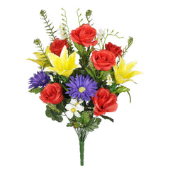 "Artificial 25"" Rose/Gerbera Daisy/Lily Bush - House of Silk Flowers®  - 4"