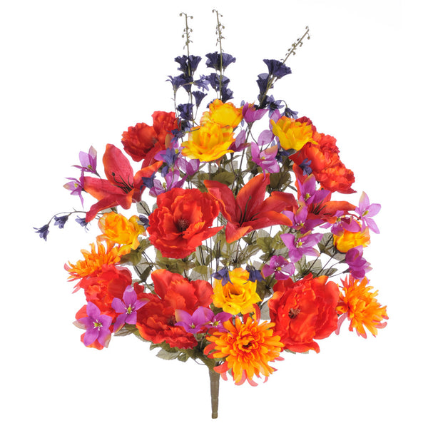 "Artificial 32"" Scarlet Tiger Lily/Rose/Dahlia/Peony Mixed Bush"