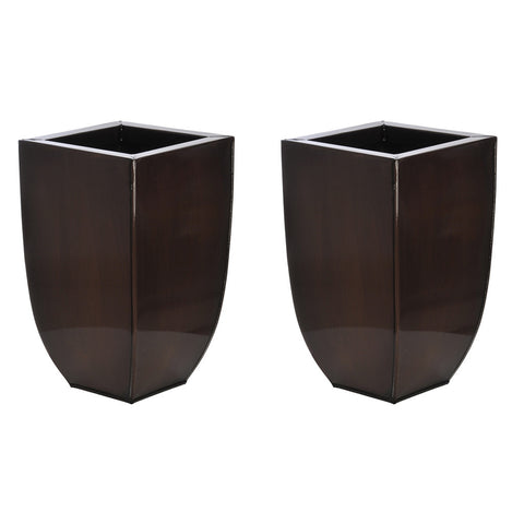 Rounded Taper Square Small Zinc Vase - Set of 2