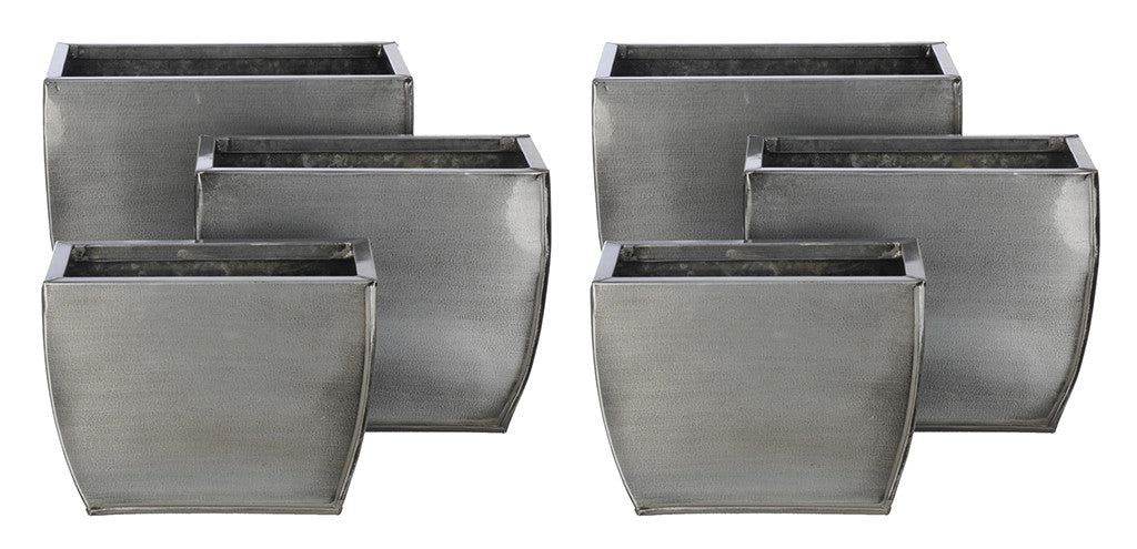 Rectangle Zinc Vase (3 Sizes) - Set of 6 Vases - House of Silk Flowers®  - 15