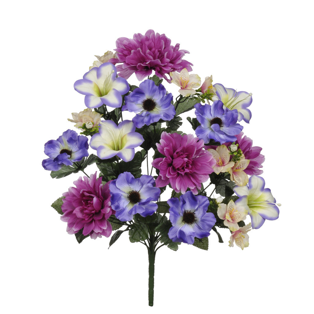 "Artificial 22"" Violet/Purple Dahlia/Lily/Anemone Bush - House of Silk Flowers®"