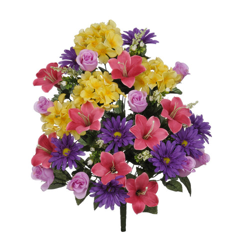 "Artificial 24"" Hydrangea/Lily/Rose Bush - House of Silk Flowers®  - 2"