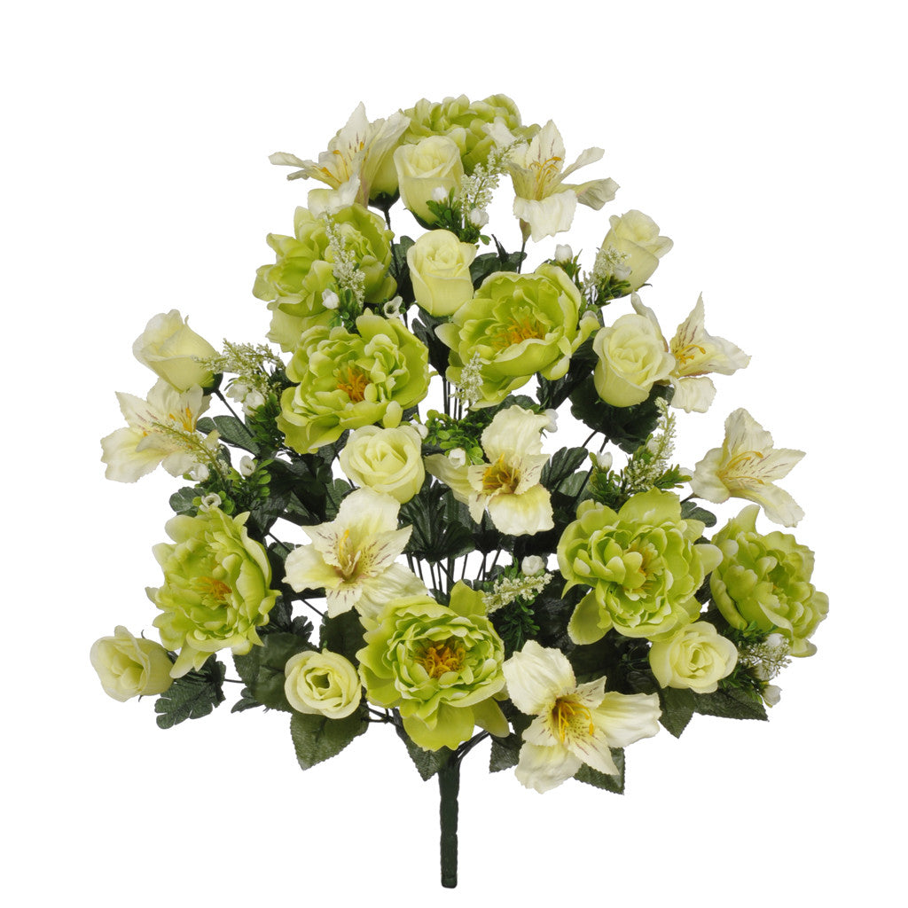 "Artificial 26"" Green Peony/Alstromeria/Rose Bush - House of Silk Flowers®"