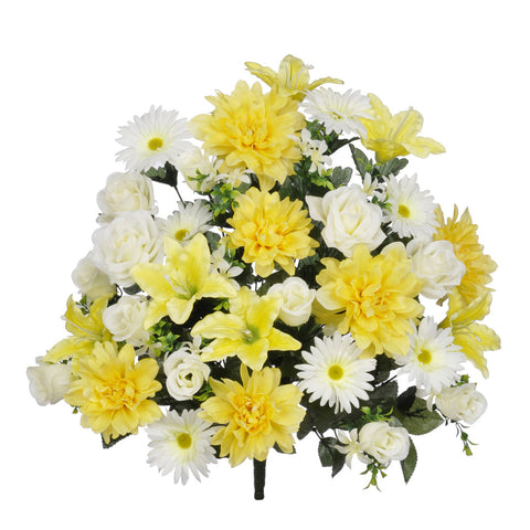 Artificial 24-inch Yellow/White Dahlia/Rose/Gerbera Daisy Bush