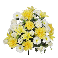 "Artificial 24"" Yellow/White Dahlia/Rose/Gerbera Daisy Bush - House of Silk Flowers®"