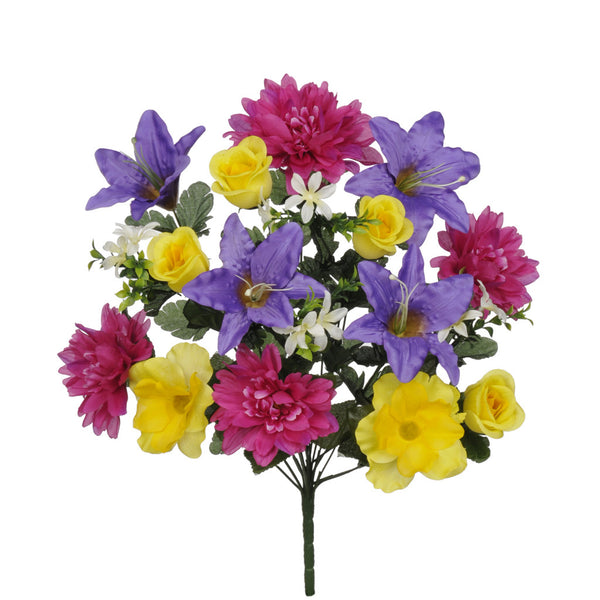 "Artificial 22"" Yellow/Purple/Fuchsia Dahlia/Tiger Lily/Rose Bush"