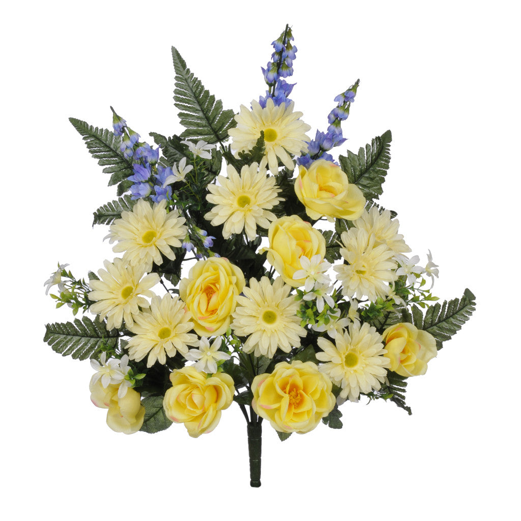 "Artificial 26"" Yellow/Periwinkle Rose/Gerbera/Delphinium Graveside Bush - House of Silk Flowers®"