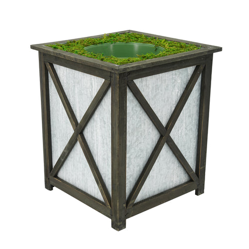 Large Stout Crisscross Wood/Metal Planter Pot-in-a-Pot