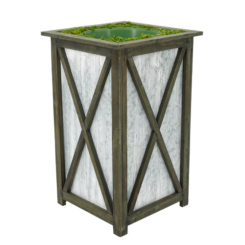 Large Tall Crisscross Wood/Metal Planter Pot-in-a-Pot
