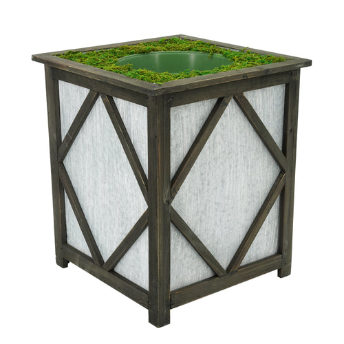 Large Stout Diamond Wood/Metal Planter Pot-in-a-Pot