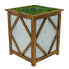 Brown Diamond Wood/Metal Planter