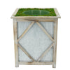 Grey Diamond Wood/Metal Planter