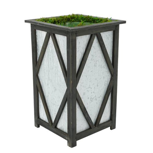 Large Tall Diamond Wood/Metal Planter Pot-in-a-Pot