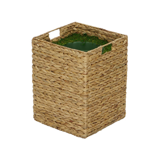 Large Square Water Hyacinth Basket Planter Pot-in-a-Pot