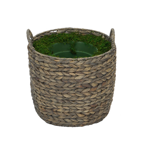Large Round Water Hyacinth Basket Planter Pot-in-a-Pot