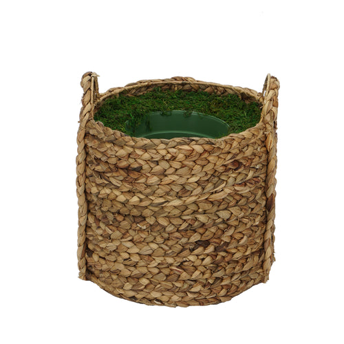 Large Braided Water Hyacinth Basket Planter Pot-in-a-Pot