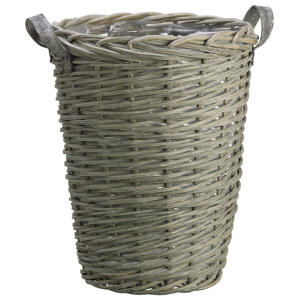 "Gray 19"" Wicker Basket w/Handles"