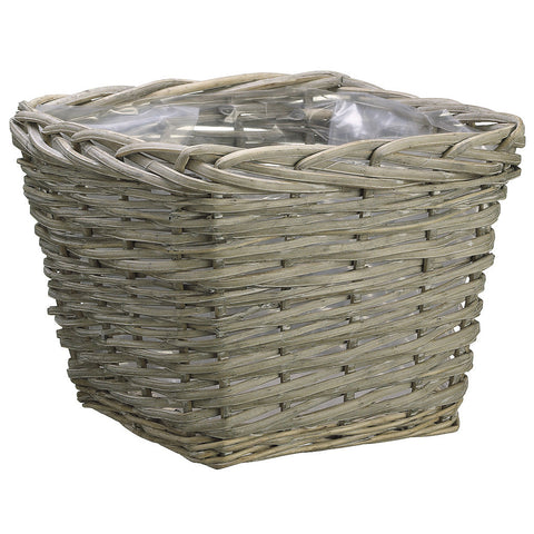 12-1/2 inch Square Weathered Basket with Liner