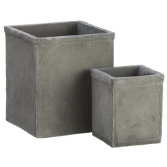 "Dark Gray 4-6"" Clay Cube Vase (Set of 2) - House of Silk Flowers®"