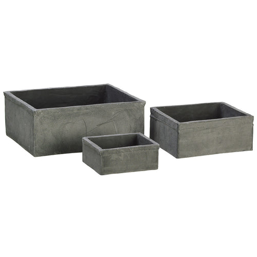 "Dark Gray 2-4"" Clay Tray Vase (Set of 3) - House of Silk Flowers®"