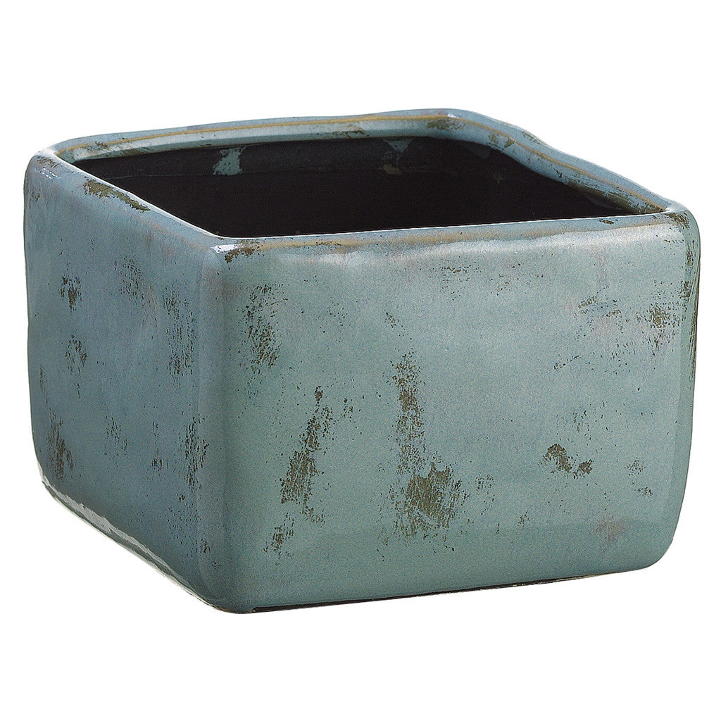 "Light Green/Blue 4"" Terra Cotta Vase/Planter - House of Silk Flowers®"