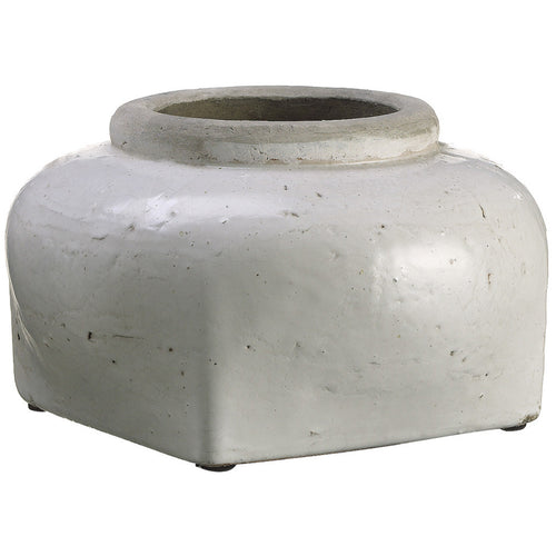 "Cream Stoneware Vase/Planter - 11"" diameter x 6.5"" tall - House of Silk Flowers®"