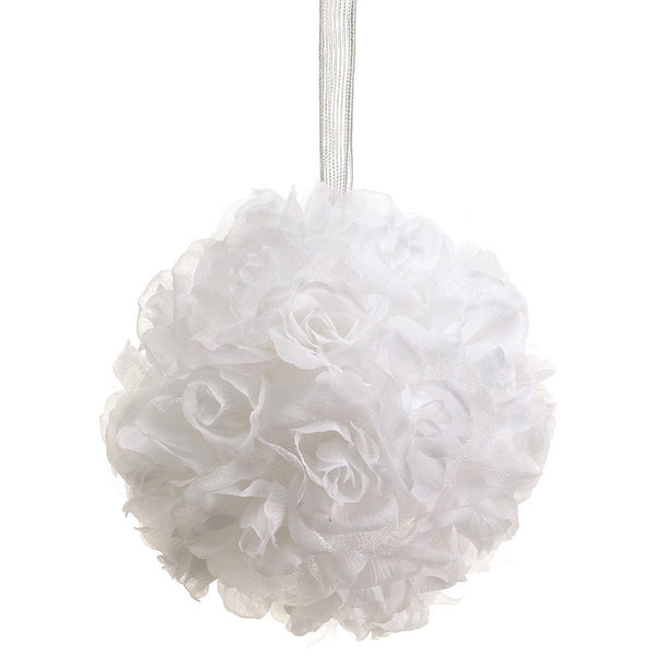 "Artificial 6"" White Rose Ball (Set of 2) - House of Silk Flowers®"