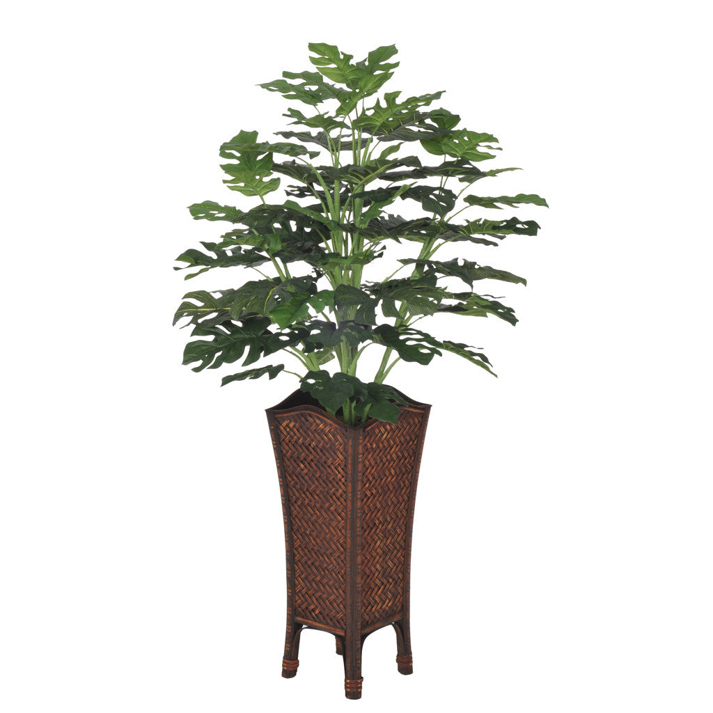 Artificial Split Philo Floor Plant in Rattan - House of Silk Flowers®  - 1