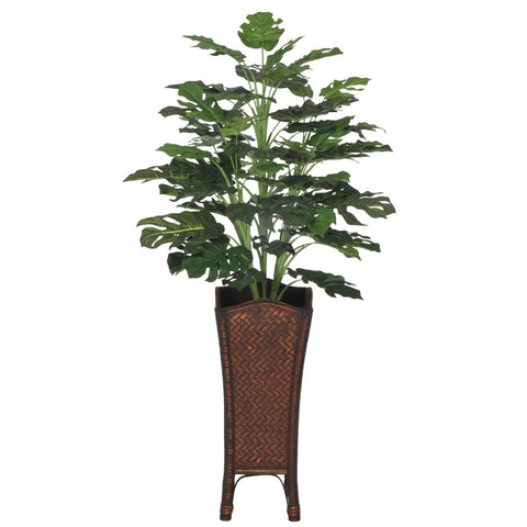 Artificial Split Philo Floor Plant in Rattan - House of Silk Flowers®  - 2