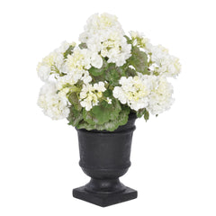 Artificial White Geranium in Black Urn - House of Silk Flowers®  - 1
