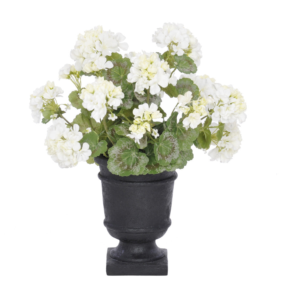 Artificial White Geranium in Black Urn - House of Silk Flowers®  - 2