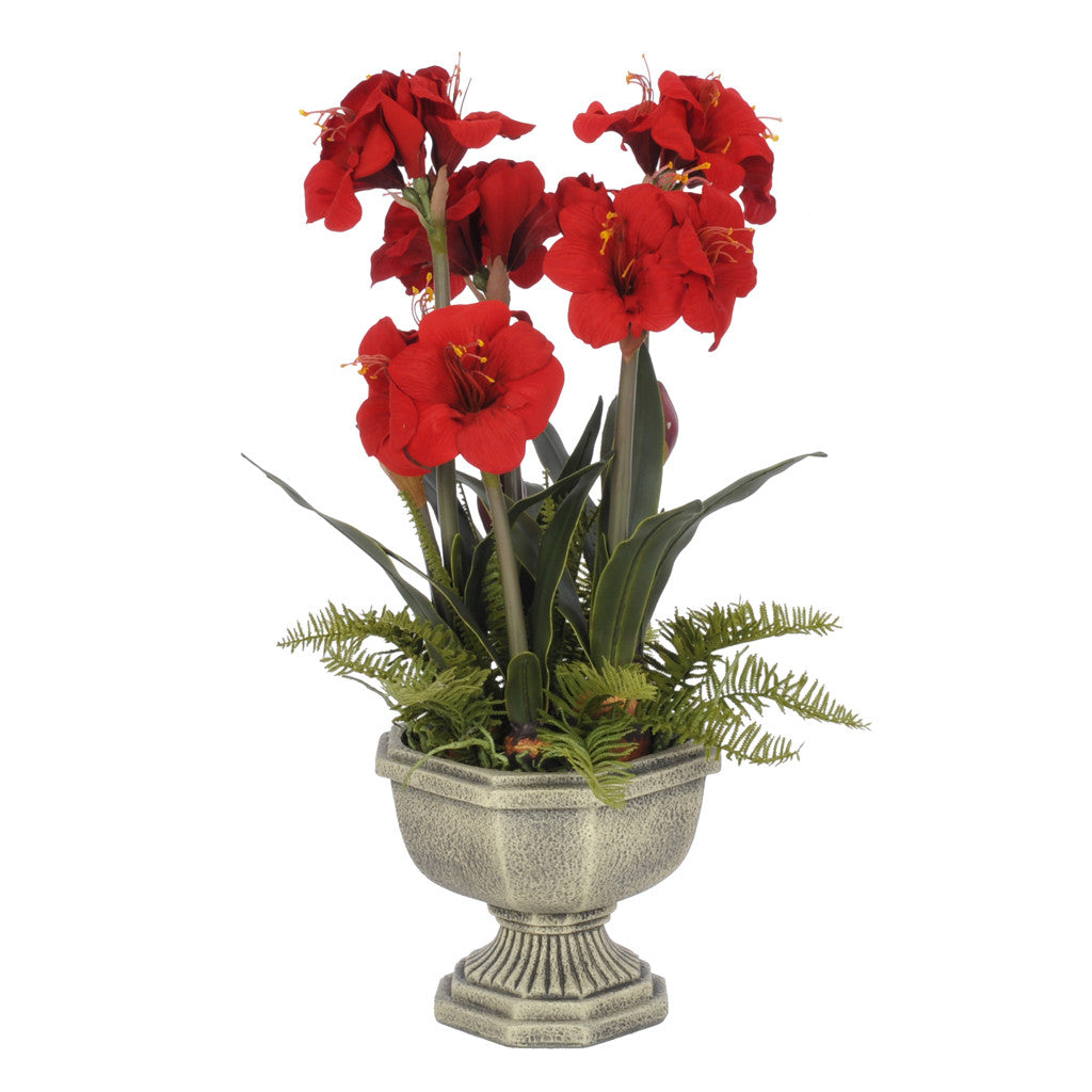 Artificial Amaryllis in Fiberglass Garden Urn - House of Silk Flowers®  - 1