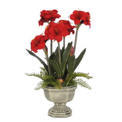 Artificial Amaryllis in Fiberglass Garden Urn - House of Silk Flowers®  - 2