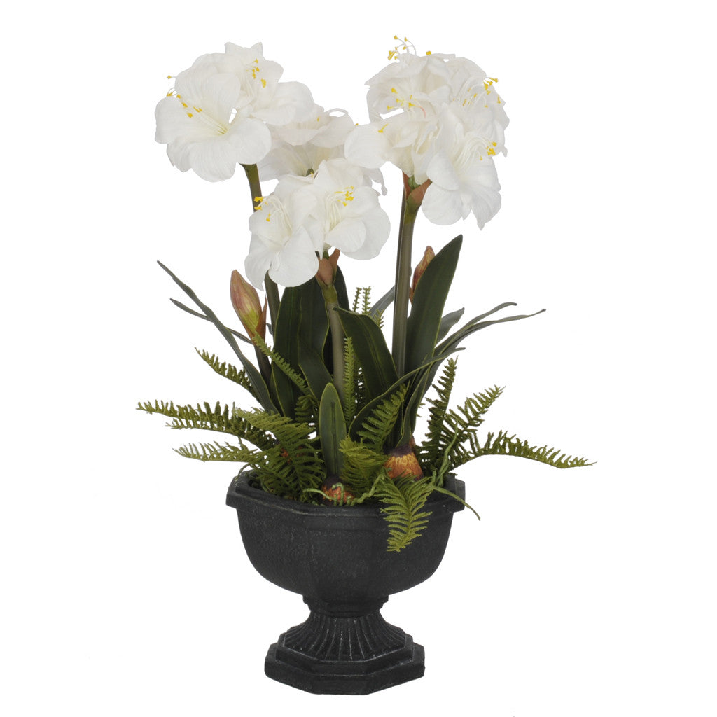 Artificial Amaryllis in Fiberglass Garden Urn - House of Silk Flowers®  - 4