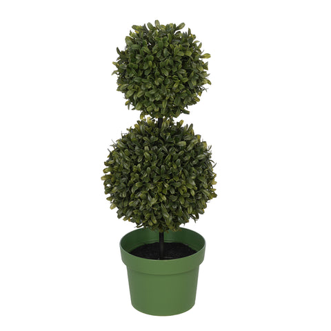 Artificial 19-inch Double Ball Boxwood Topiary