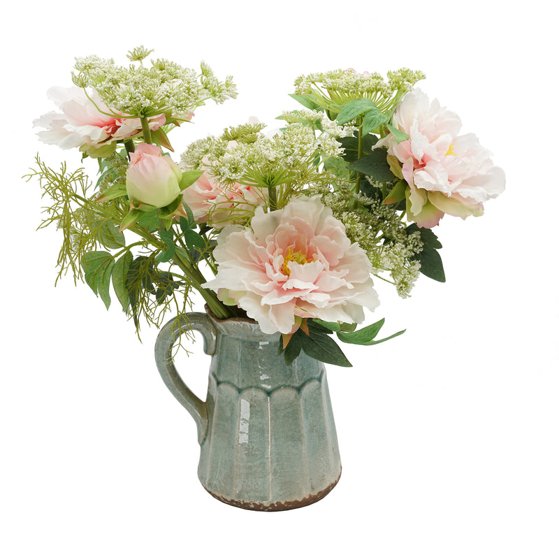 Shabby Chic® Pink Peony and Queen Anne's Lace in Teal Ceramic Pitcher