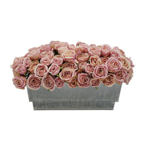Shabby Chic® Antique Pink Roses in Distressed Zinc Ledge Planter