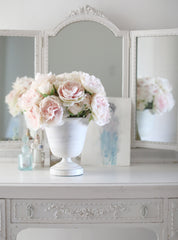 Shabby Chic® Light Pink Peonies in Distressed White Metal Urn