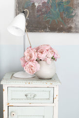 Shabby Chic® Wonky Pink Cabbage Roses in Off-White Ceramic Vase