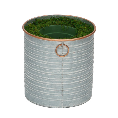 Large Copper-Rim Metal Planter Pot-in-a-Pot