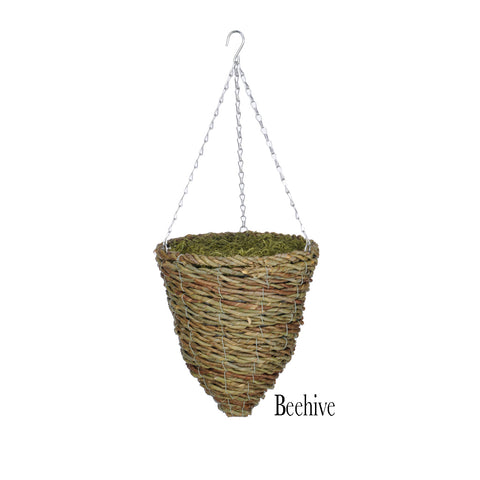 Faux Asparagus Fern in Reed Hanging Basket