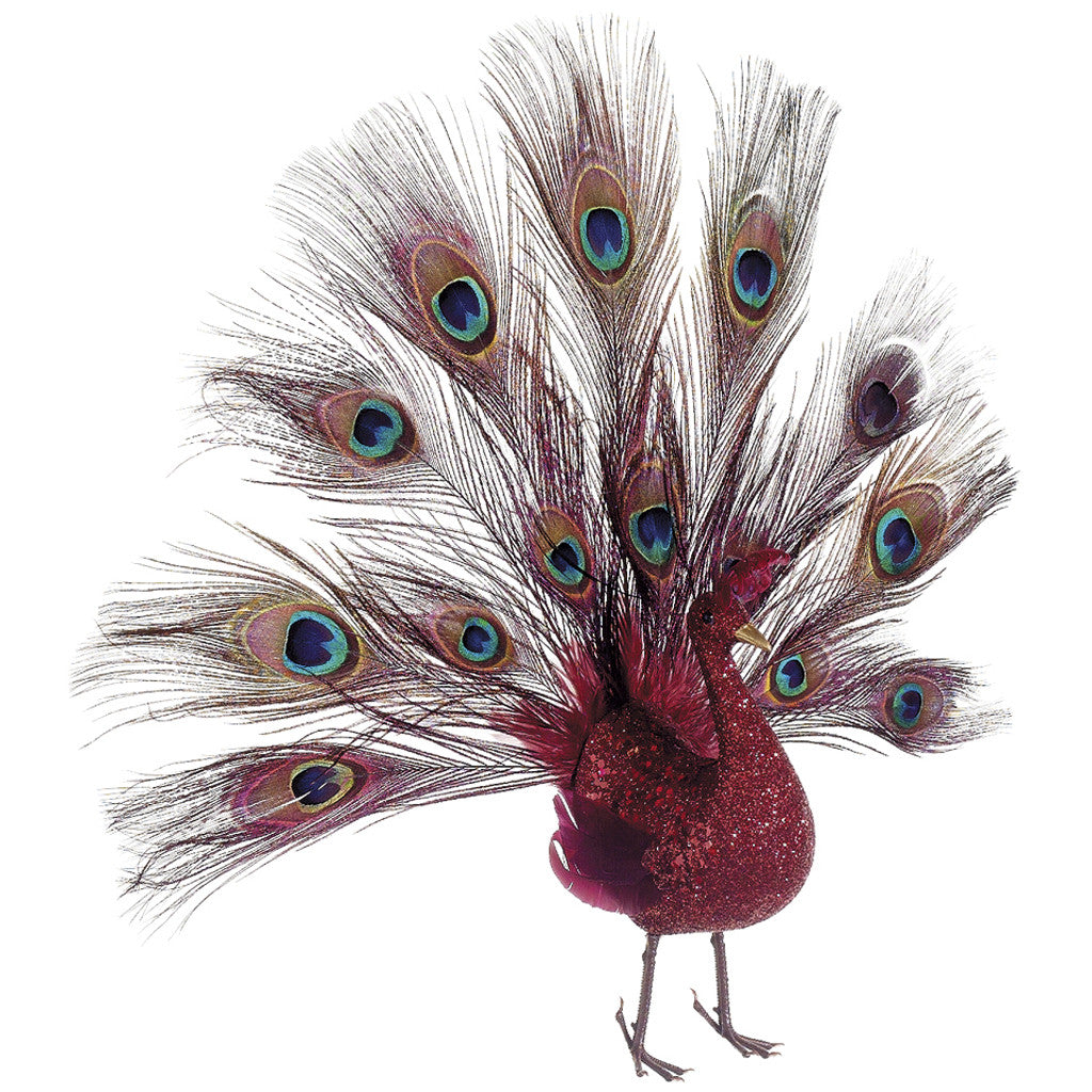 "Decorative Glittered Red 16"" Open-Tail Peacock - House of Silk Flowers®"
