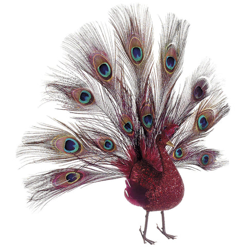 Decorative Glittered Red 16-inch Open-Tail Peacock