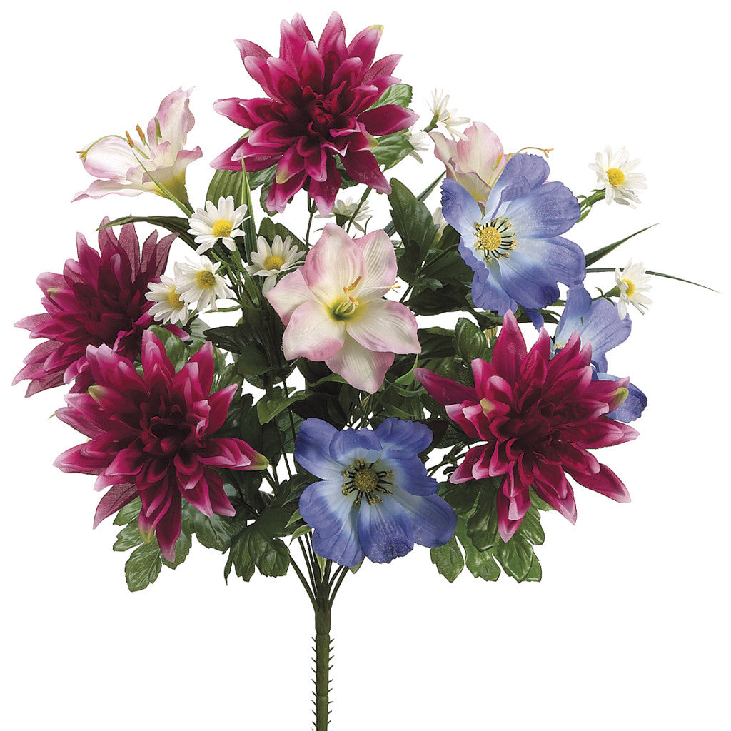 "Artificial 21"" Fuchsia/Lavender Dahlia/Lily Bush - Set of 2 bushes - House of Silk Flowers®"