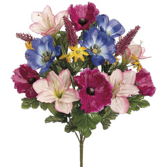 "Artificial 20"" Fuchsia/Lavender Lily/Poppy Mixed Bush - Set of 2 bushes - House of Silk Flowers®"