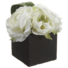 Artificial Ranunculus in Paper Mache Pot - House of Silk Flowers®  - 1