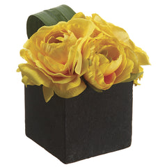 Artificial Ranunculus in Paper Mache Pot - House of Silk Flowers®  - 2